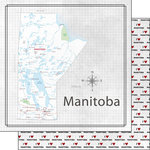 Scrapbook Customs - Canadian Province Adventure Collection - 12 x 12 Double Sided Paper - Adventure Map - Manitoba