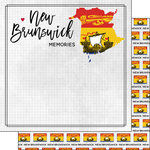 Scrapbook Customs - Canadian Province Adventure Collection - 12 x 12 Double Sided Paper - Adventure Flag - New Brunswick