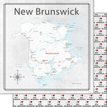 Scrapbook Customs - Canadian Province Adventure Collection - 12 x 12 Double Sided Paper - Adventure Map - New Brunswick