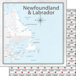 Scrapbook Customs - Canadian Province Adventure Collection - 12 x 12 Double Sided Paper - Adventure Map - Newfoundland
