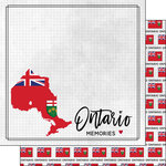 Scrapbook Customs - Canadian Province Adventure Collection - 12 x 12 Double Sided Paper - Adventure Flag - Ontario