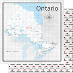 Scrapbook Customs - Canadian Province Adventure Collection - 12 x 12 Double Sided Paper - Adventure Map - Ontario