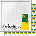 Scrapbook Customs - Canadian Province Adventure Collection - 12 x 12 Double Sided Paper - Adventure Flag - Saskatchewan