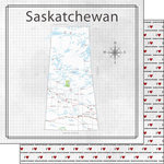 Scrapbook Customs - Canadian Province Adventure Collection - 12 x 12 Double Sided Paper - Adventure Map - Saskatchewan