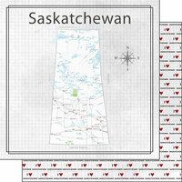 Scrapbook Customs - Canadian Province Adventure Collection - 12 x 12 Double Sided Paper - Adventure Map - Saskatchewan