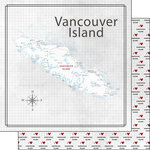 Scrapbook Customs - Canadian Province Adventure Collection - 12 x 12 Double Sided Paper - Adventure Map - Vancouver Island