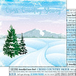 Scrapbook Customs - Winter Adventure Collection - 12 x 12 Double Sided Paper - Cross Country Skiing