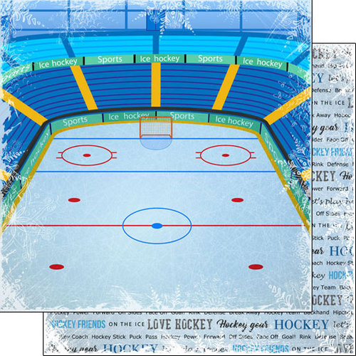 Scrapbook Customs - Winter Adventure Collection - 12 x 12 Double Sided Paper - Hockey