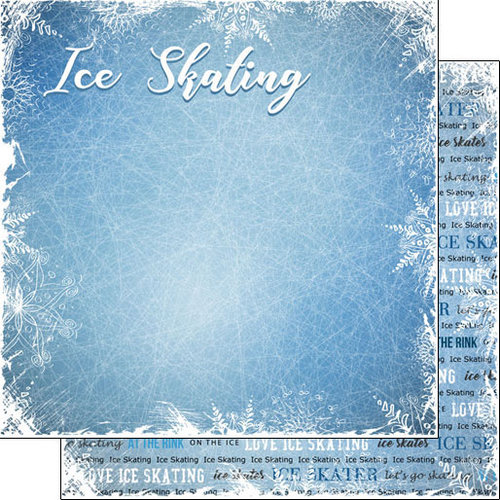 Scrapbook Customs - Winter Adventure Collection - 12 x 12 Double Sided Paper - Ice Skating