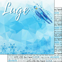 Scrapbook Customs - Winter Adventure Collection - 12 x 12 Double Sided Paper - Luge