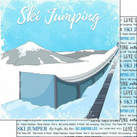 Scrapbook Customs - Winter Adventure Collection - 12 x 12 Double Sided Paper - Ski Jumping