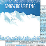 Scrapbook Customs - Winter Adventure Collection - 12 x 12 Double Sided Paper - Snowboarding