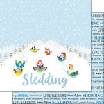 Scrapbook Customs - Winter Adventure Collection - 12 x 12 Double Sided Paper - Sledding