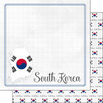 Scrapbook Customs - South Korea Adventure Collection - 12 x 12 Double Sided Paper - Adventure Border - South Korea