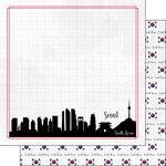 Scrapbook Customs - South Korea Adventure Collection - 12 x 12 Double Sided Paper - Adventure Companion - Seoul