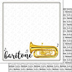 Scrapbook Customs - Music Notes Collection - 12 x 12 Double Sided Paper - Baritone Notes