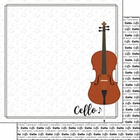 Scrapbook Customs - Music Notes Collection - 12 x 12 Double Sided Paper - Cello Notes