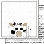 Scrapbook Customs - Music Notes Collection - 12 x 12 Double Sided Paper - Drum Set Notes