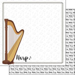 Scrapbook Customs - Music Notes Collection - 12 x 12 Double Sided Paper - Harp Notes
