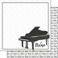 Scrapbook Customs - Music Notes Collection - 12 x 12 Double Sided Paper - Piano Notes