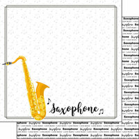 Scrapbook Customs - Music Notes Collection - 12 x 12 Double Sided Paper - Saxophone Notes