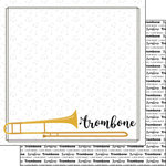 Scrapbook Customs - Music Notes Collection - 12 x 12 Double Sided Paper - Trombone Notes