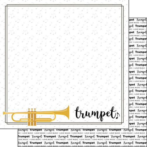 Scrapbook Customs - Music Notes Collection - 12 x 12 Double Sided Paper - Trumpet Notes
