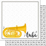 Scrapbook Customs - Music Notes Collection - 12 x 12 Double Sided Paper - Tuba Notes
