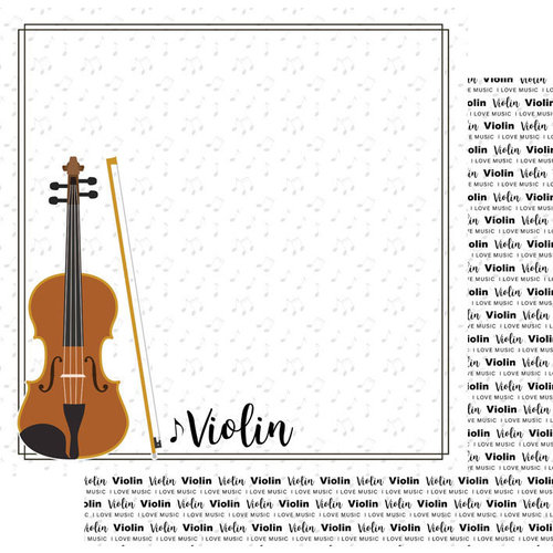 Scrapbook Customs - Music Notes Collection - 12 x 12 Double Sided Paper - Violin Notes