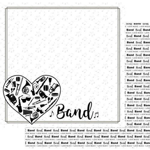 Scrapbook Customs - Music Notes Collection - 12 x 12 Double Sided Paper - Band Instruments In Heart