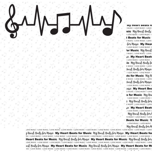 Scrapbook Customs - Music Notes Collection - 12 x 12 Double Sided Paper - Heart Beats For Music