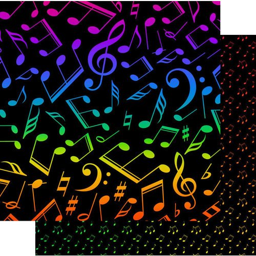 Scrapbook Customs - Music Notes Collection - 12 x 12 Double Sided Paper - Music Notes Neon