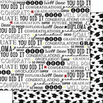 Scrapbook Customs - Graduation Collection - 12 x 12 Double Sided Paper - Graduation Words - Black and White