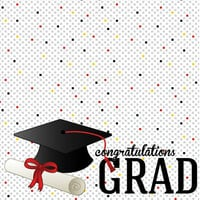 Scrapbook Customs - Graduation Collection - 12 x 12 Double Sided Paper - Graduation Confetti
