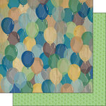 Scrapbook Customs - His Birthday Collection - 12 x 12 Double Sided Paper - Wood Balloons