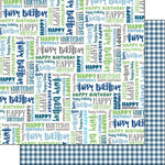 Scrapbook Customs - His Birthday Collection - 12 x 12 Double Sided Paper - Words