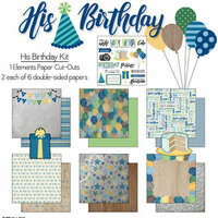 Scrapbook Customs - His Birthday Collection - 12 x 12 Paper Pack