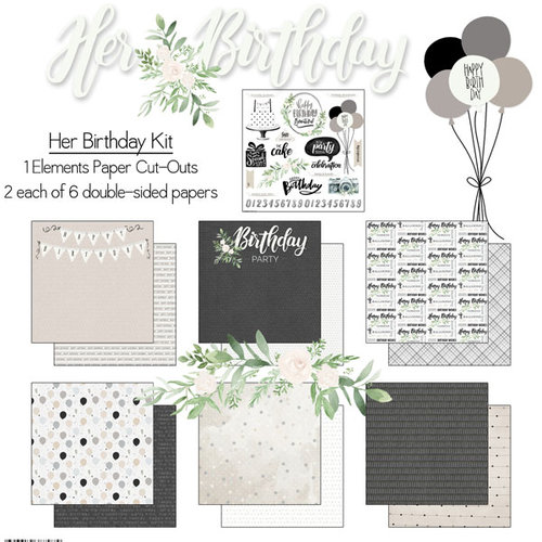 Scrapbook Customs - Her Birthday Collection - 12 x 12 Paper Pack