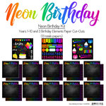 Scrapbook Customs - Neon Birthday Collection - 12 x 12 Paper Pack - Years 1-10