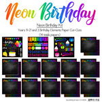 Scrapbook Customs - Neon Birthday Collection - 12 x 12 Paper Pack - Years 11-21