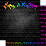 Scrapbook Customs - Neon Birthday Collection - 12 x 12 Double Sided Paper - 1st Birthday