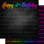 Scrapbook Customs - Neon Birthday Collection - 12 x 12 Double Sided Paper - 2nd Birthday