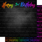 Scrapbook Customs - Neon Birthday Collection - 12 x 12 Double Sided Paper - 3rd Birthday