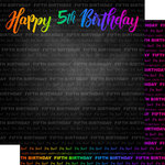 Scrapbook Customs - Neon Birthday Collection - 12 x 12 Double Sided Paper - 5th Birthday
