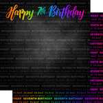 Scrapbook Customs - Neon Birthday Collection - 12 x 12 Double Sided Paper - 7th Birthday