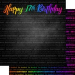 Scrapbook Customs - Neon Birthday Collection - 12 x 12 Double Sided Paper - 17th Birthday
