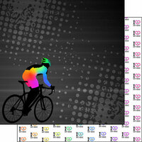 Scrapbook Customs - Neon Sports Collection - Cycling - 12 x 12 Double Sided Paper - 4