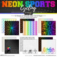 Scrapbook Customs - Neon Sports Collection - Cycling - 12 x 12 Paper Pack