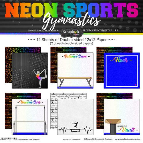Scrapbook Customs - Neon Sports Collection - Gymnastics - 12 x 12 Paper Pack