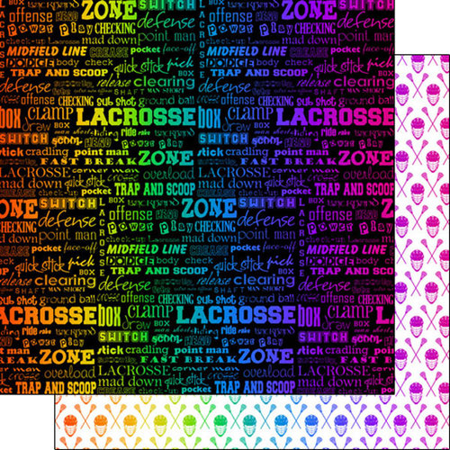 Scrapbook Customs - Neon Sports Collection - Lacrosse - 12 x 12 Double Sided Paper - 2